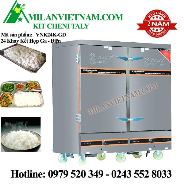 Tủ nấu cơm 24 khay điện gas kết hợp Vinaki VNK24K-GD