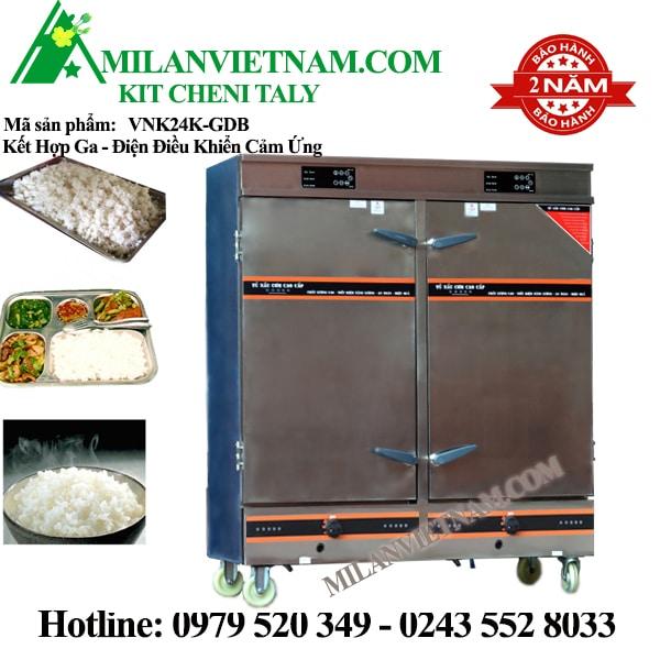 Tủ nấu cơm 24 khay VNK24K-GDB kết hợp gas-điện