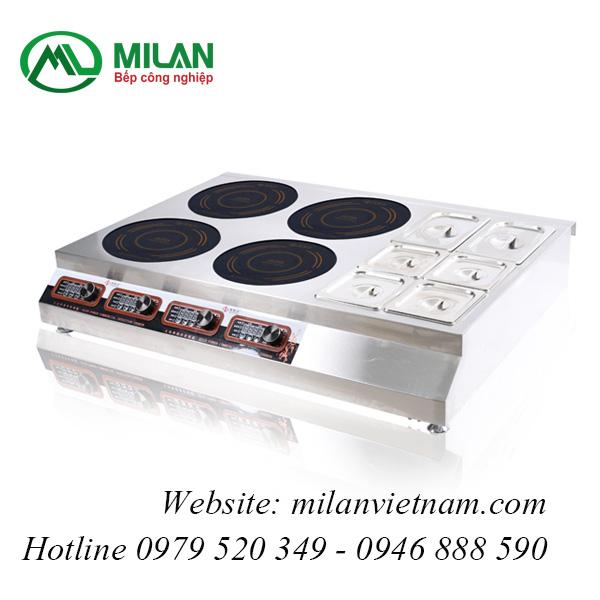 Bếp từ công nghiệp mỏng kết hợp bếp hấp có hẹn giờ 3.5KW HZD-3.5KW-4F+BW