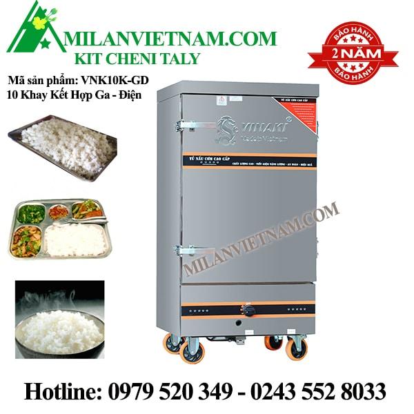 Tủ nấu cơm 10 khay điện gas Vinaki VNK10KGD