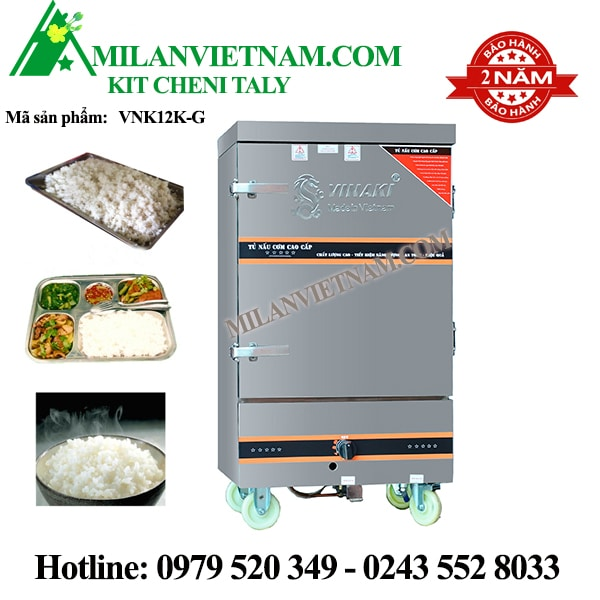 Tủ nấu cơm bằng gas 12 khay VNK12KG