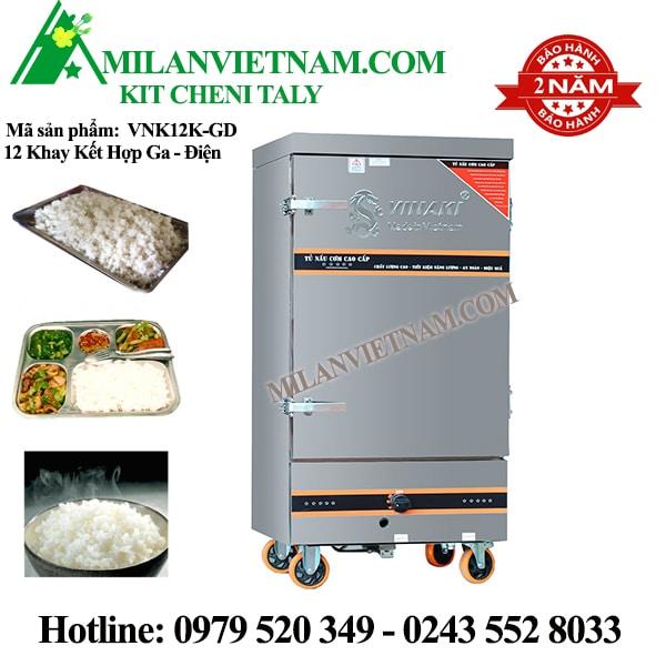 Tủ nấu cơm 12 khay điện gas Vinaki VNK12K-GD