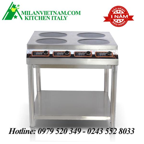 Bếp từ công nghiệp4 mặt phẳng có hẹn giờ có giá kệ 3KW HZD-4X3KW-XKPS