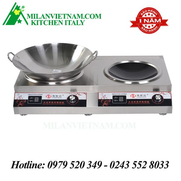 Bếp từ công nghiệp đôi 1 mặt phẳng 1 mặt lõm 3.5KW HZD-3.5KW-2AX