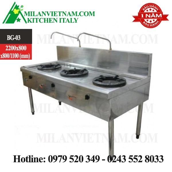 Bàn bếp gas công nghiệp 3 bếp BG-03