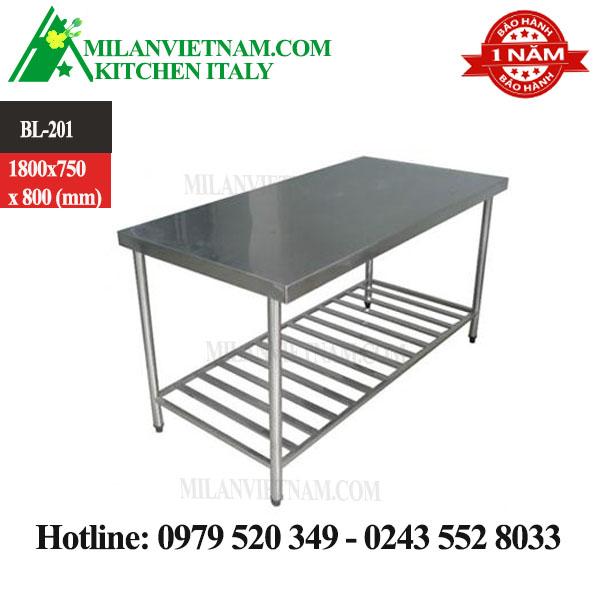 BÀN INOX 2 TẦNG 1 GIÁ NAN DƯỚI 1800X750X800 MM
