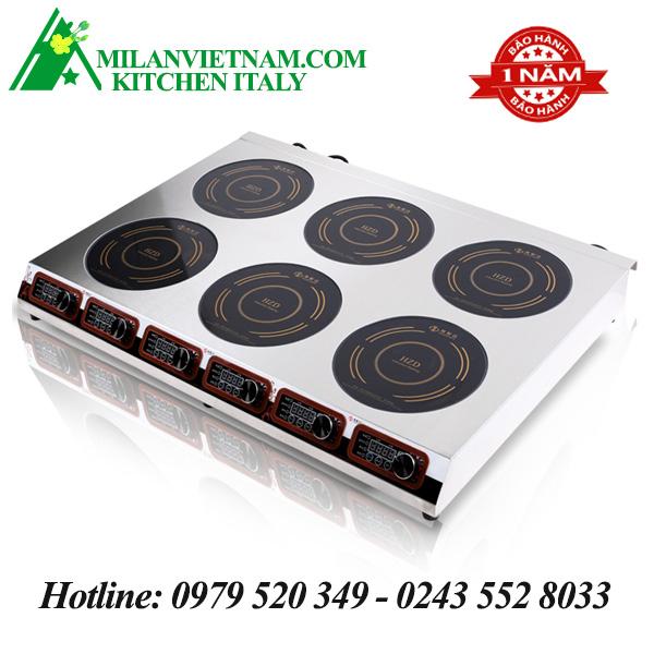 Bếp từ công nghiệp 6 mặt nấu có hẹn giờ 3.5KW HZD-3.5KW-6TSXCS