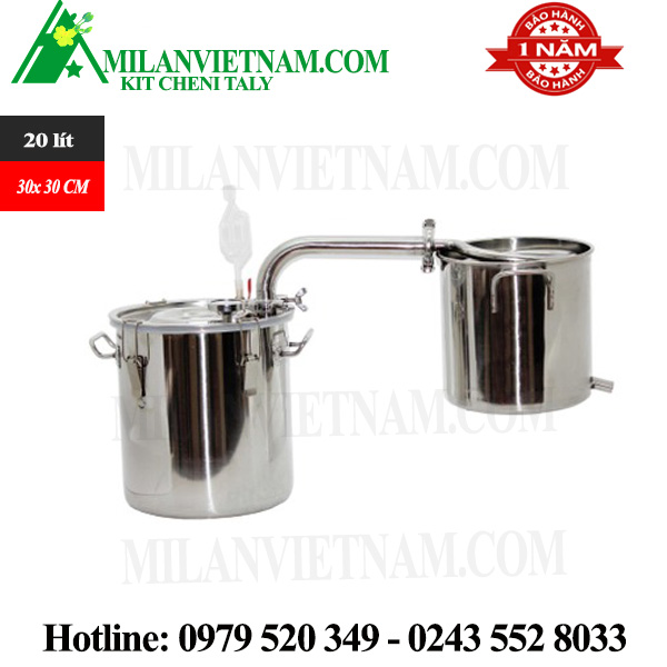 Nồi chưng cất tinh dầu inox dùng gas, than, củi bếp từ 20L NR-20