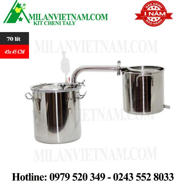 Nồi nấu rượu nồi chưng cất tinh dầu inox dùng gas, than, củi bếp từ 70 lít NR-70