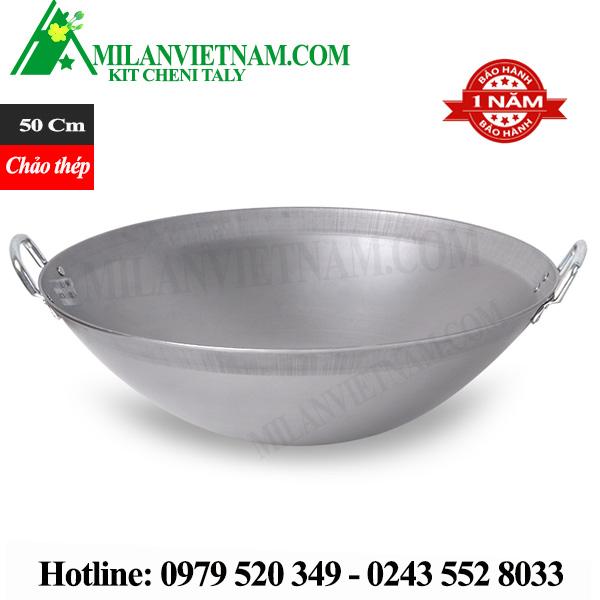 Chảo thép dùng cho bếp từ công nghiệp đường kính 50cm