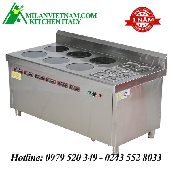 Bếp từ công nghiệp lớn kết hếp hấp có hẹn giờ 3KW HZD-3KWX6-6L-BW