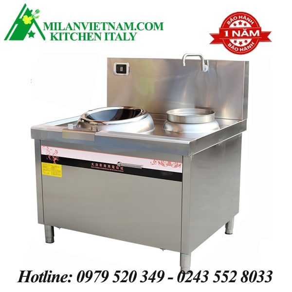 Bếp từ công nghiệp chảo lõm và bếp hầm có vòi rửa HZD-15KW-LCH