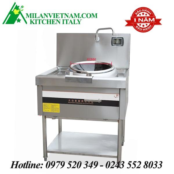 Bếp từ công nghiệp chảo lõm có giá kệ có vòi rửa HZD-8KW-DTLD