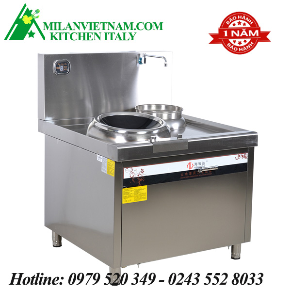 Bếp từ công nghiệp đôi có giá kệ có hẹn giờ 8KW HZD-8KWX2-ASCLX