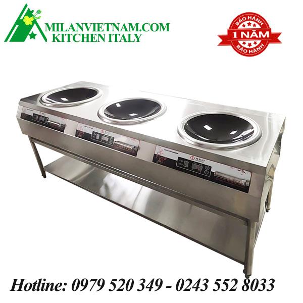 Bếp từ công nghiệp 3 mặt bếp lõm có giá kệ 8KW