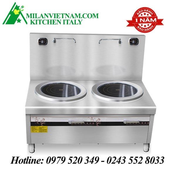 Bếp từ công nghiệp đôi phẳng có vòi rửa HZD-8KW-2PDKCL