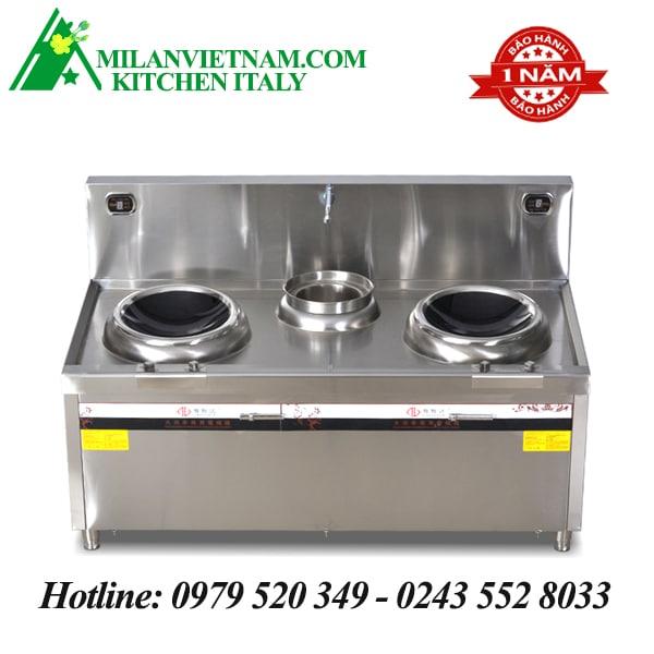 Bếp từ công nghiệp 2 mặt lõm và bếp hầm có vòi rửa 15KW HZD-2X15KW-400ACS