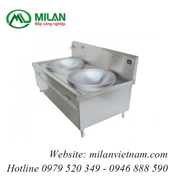 Bếp từ công nghiệp lớn mặt lõm đôi có vòi rửa 15KW HZD-2X15KW-LDX