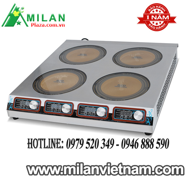 Bếp điện công nghiệp 4 mặt phẳng – Bếp hồng ngoại công nghiệp 4 mặt phẳng 3KW HZD-4X3KW-DTBPF