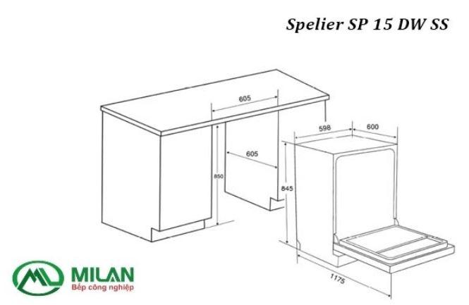 kích thước lắp đặt máy rửa bát spelier sp 15 dw ss