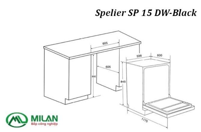 kích thước máy rửa bát Spelier SP 15 DW-Black