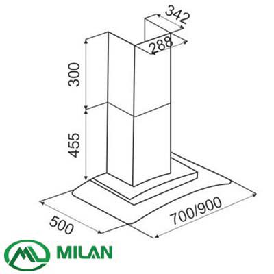 Kích thước máy hút mùi Canzy cz 70AG - Milan